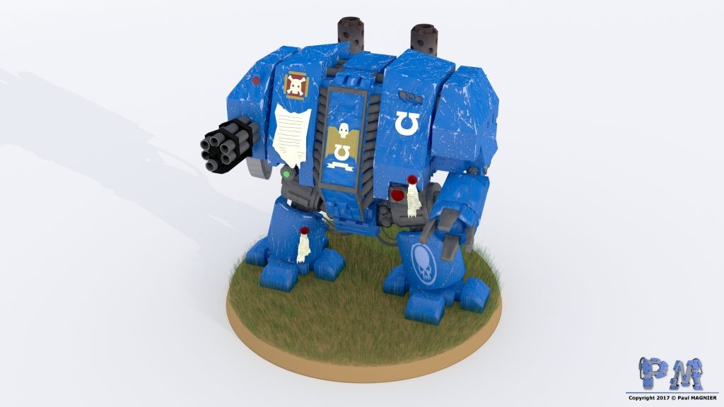 Reproduction de la figurine d'un Dreadnought de l'univers de Warhammer 40000.