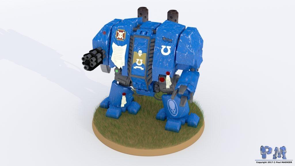 Reproduction de la figurine d'un Dreadnought de l'univers de Warhammer 40000.