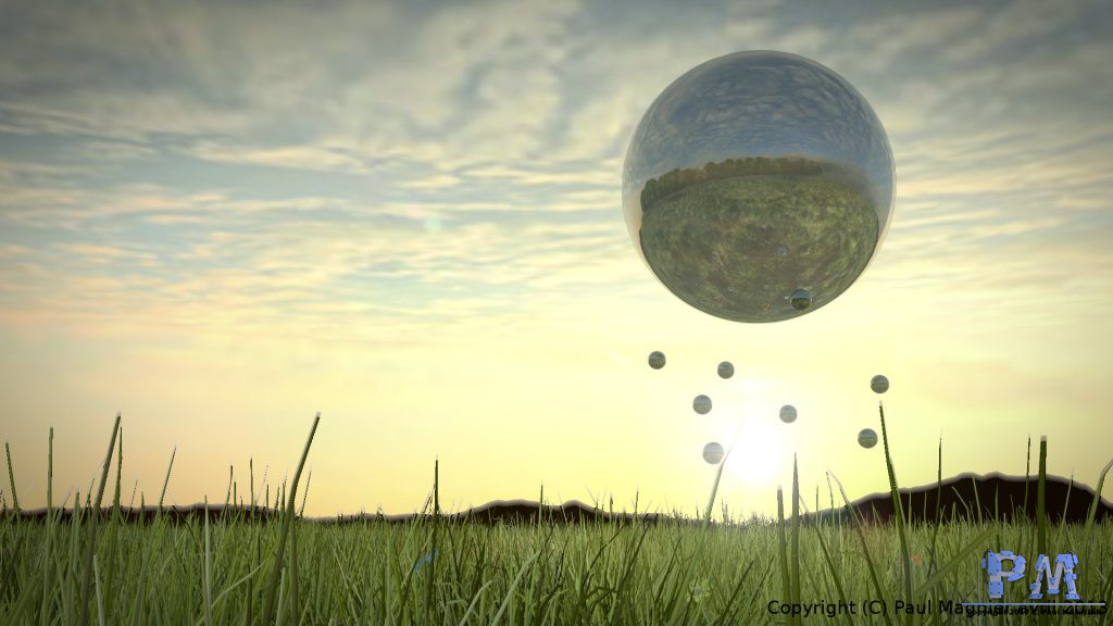 """Image réalisée dans le cadre d'un concours hebdomadaire du Blender Clan sur le thème """"Sphère"""""""