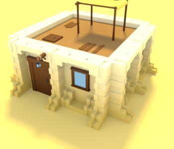 Première maison du désert Low-Poly réalisé à partir de mes différents assets.