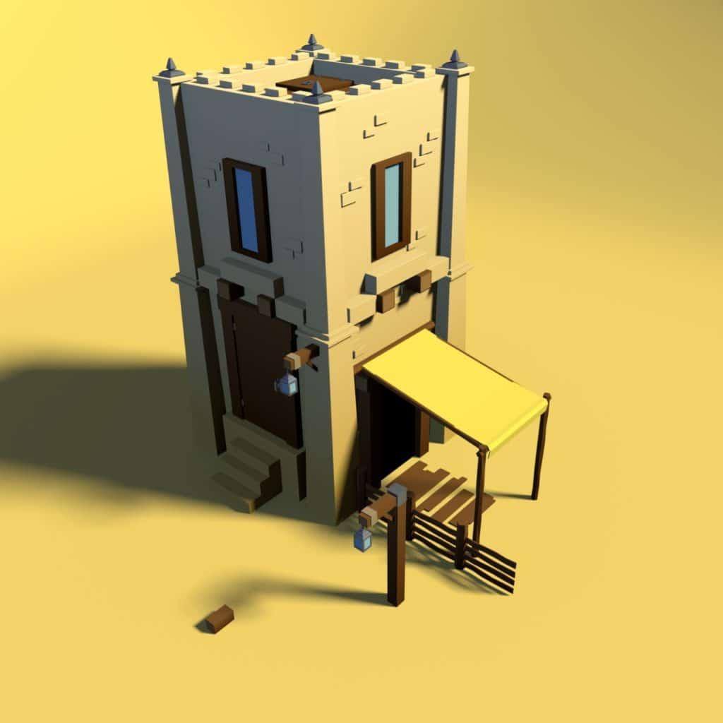 Deuxième maison du désert Low-Poly réalisé à partir de mes différents assets.