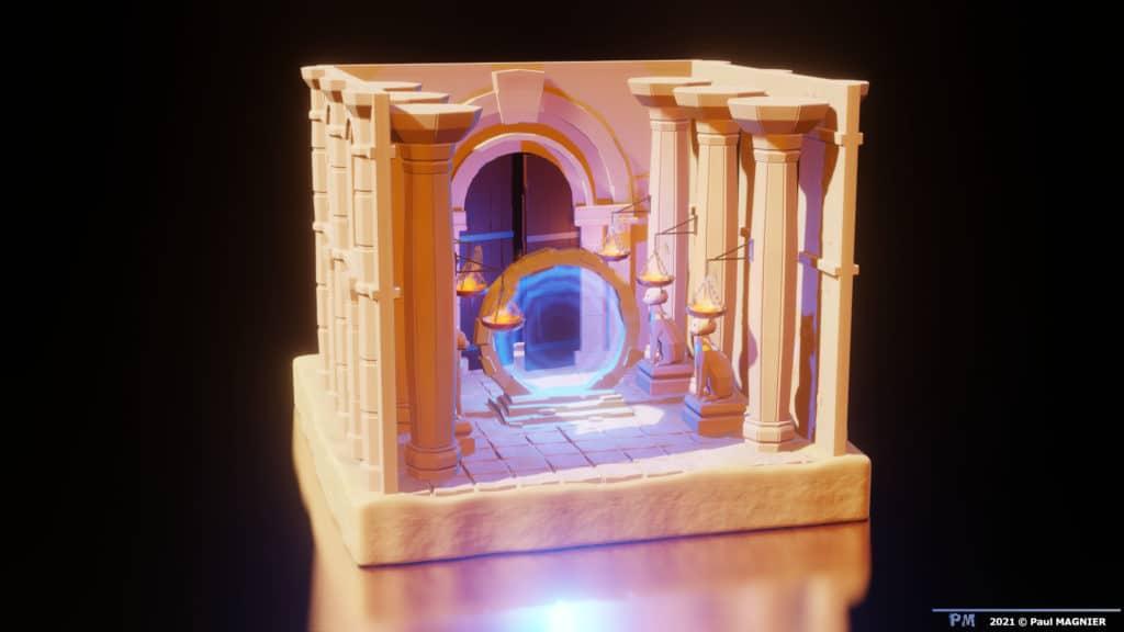 Portail magique temple du désert.