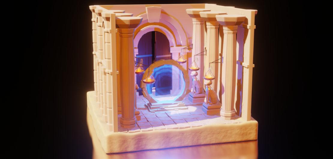 Modélisation 3D d'un Portail magique temple du désert.